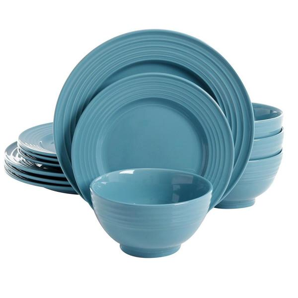 Gibson Home Plaza Cafe 12-Piece Teal Dinnerware Set 98599932M