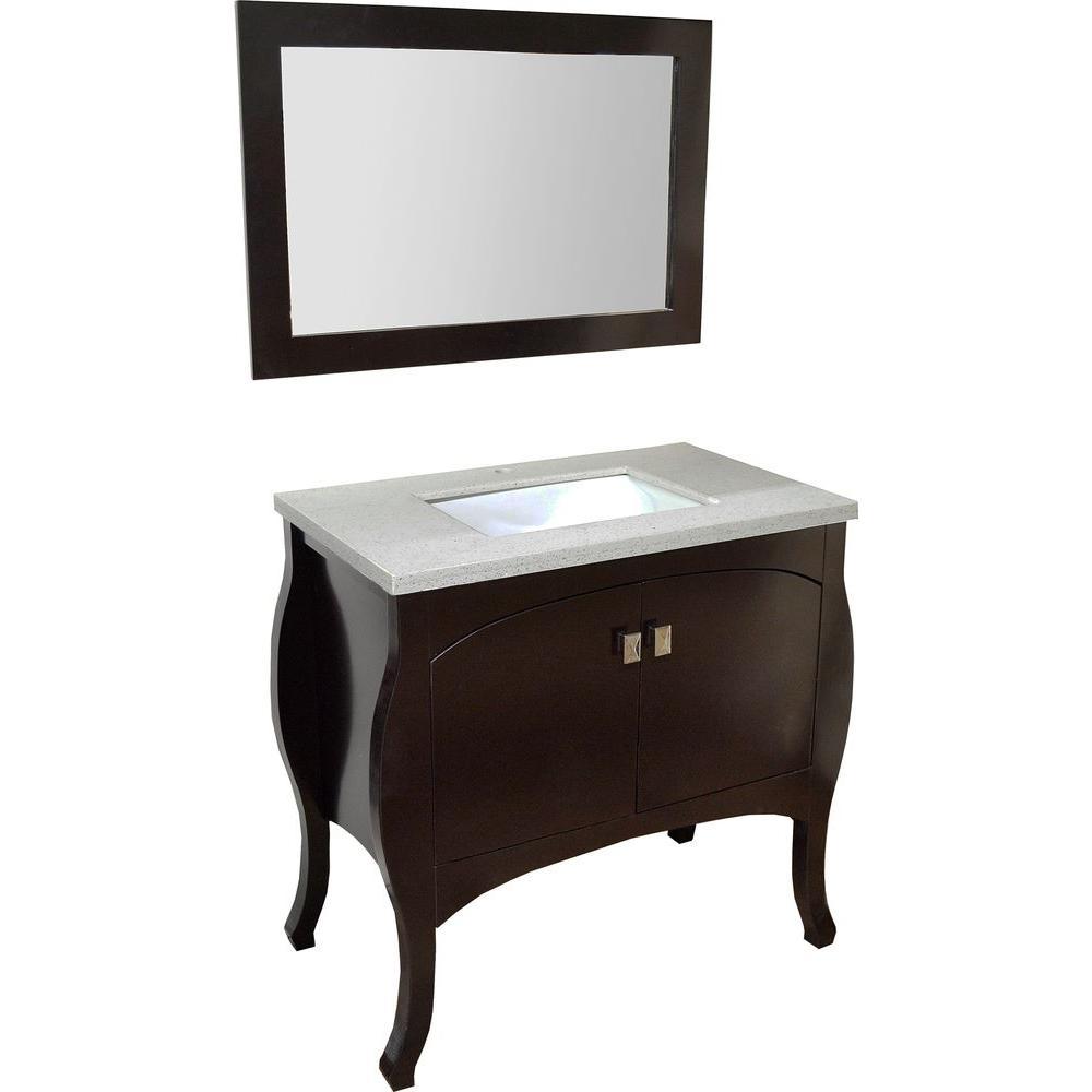34 in. Vanity in Espresso with Travertine Vanity Top in Espresso and Mirror