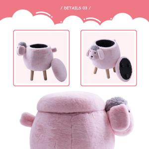 Superb Merax Pink Sheep Animal Storage Ottoman Footrest Stool Short Links Chair Design For Home Short Linksinfo