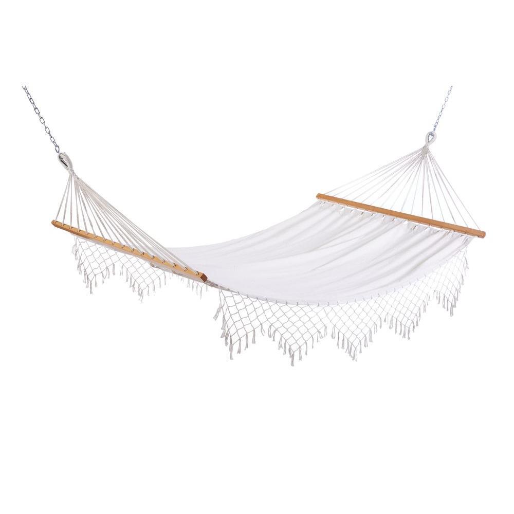 11 ft  capri canvas hammock with fringe castaway   hammocks   patio furniture   the home depot  rh   homedepot