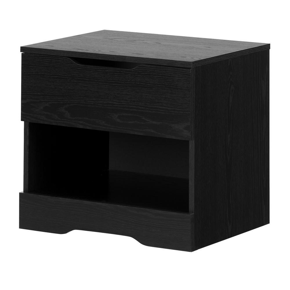 Holland 1-Drawer Black Oak Nightstand