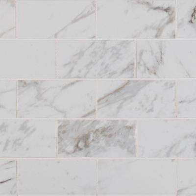 Carrara 12 in. x 12 in. x 10 mm Polished Porcelain Mesh-Mounted Mosaic Tile (8 sq. ft. / case)