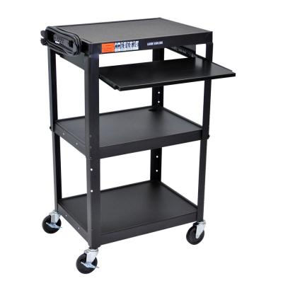 Adjustable Height 24 in. Steel A/V Cart with Pullout Tray  in Black