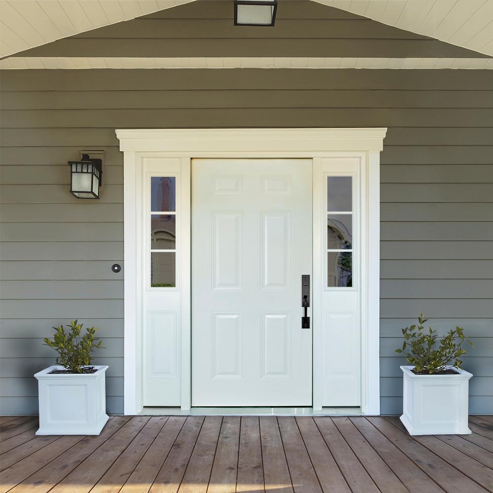 68 in. x 80 in. 6-Panel White Left-Hand 14 in. 3-Lite Sidelites Primed Steel Prehung Front Door with 6-9/16 in. Frame