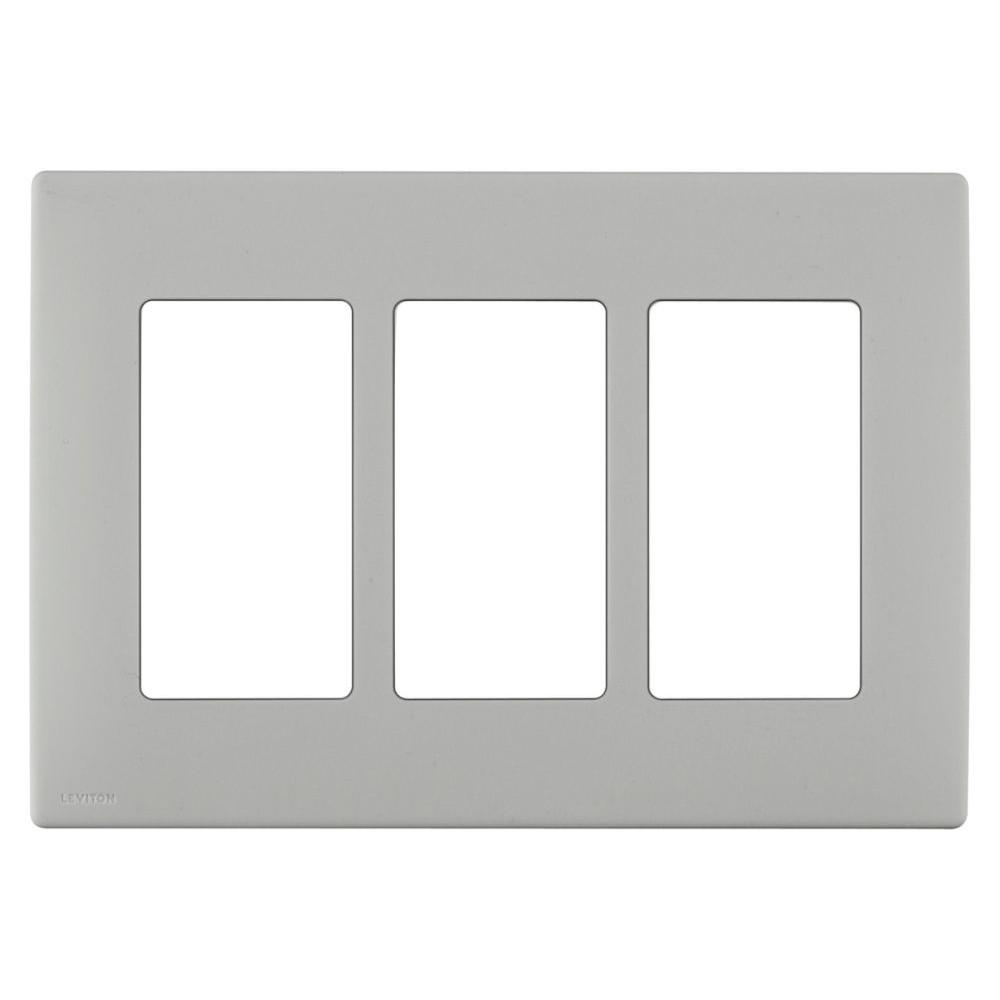 Leviton Renu 3 Gang Screwless Snap-on Wall Plate - Pebble Grey-DISCONTINUED