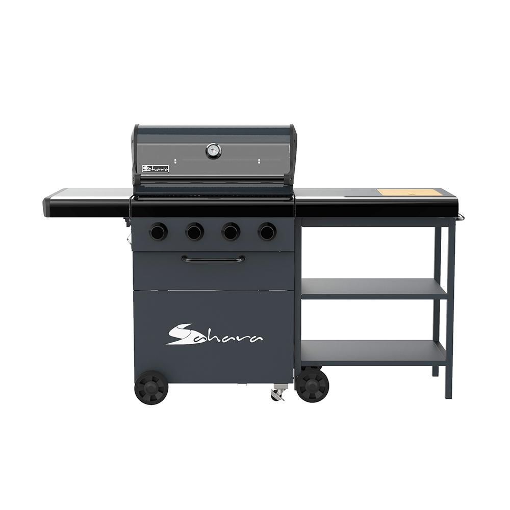Sahara 4-Burner Propane Gas Grill with Side Cart