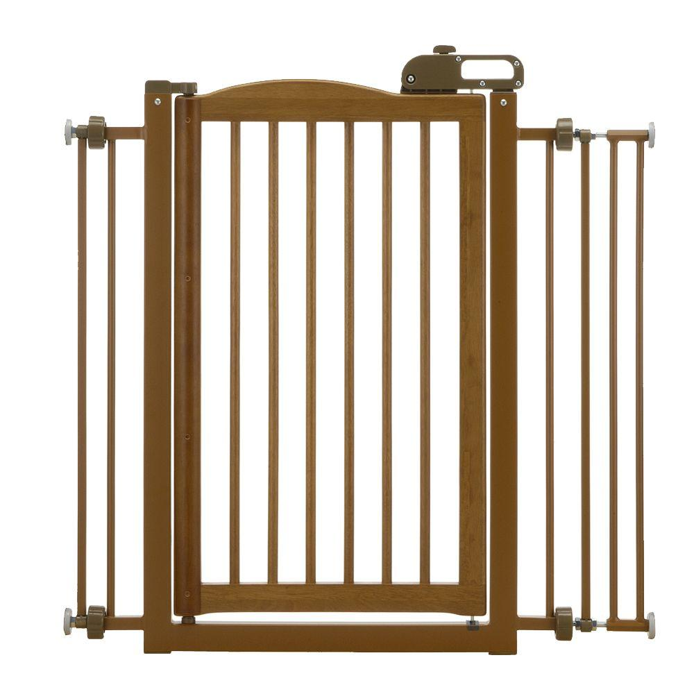 Richell 34.6 in. x 35.8 in. Wood One-Touch Pet Gate in Brown