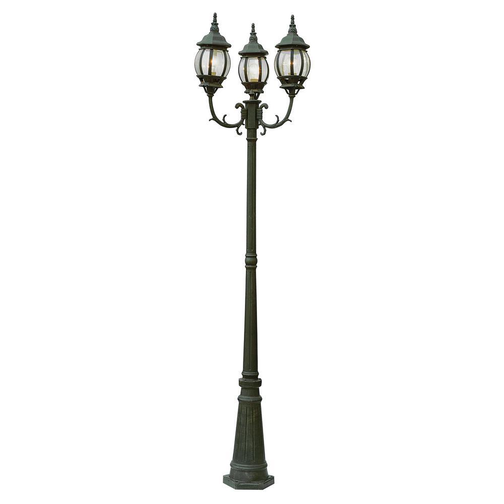 Bel Air Lighting Parkway 3 Light Outdoor Verde Green Lamp