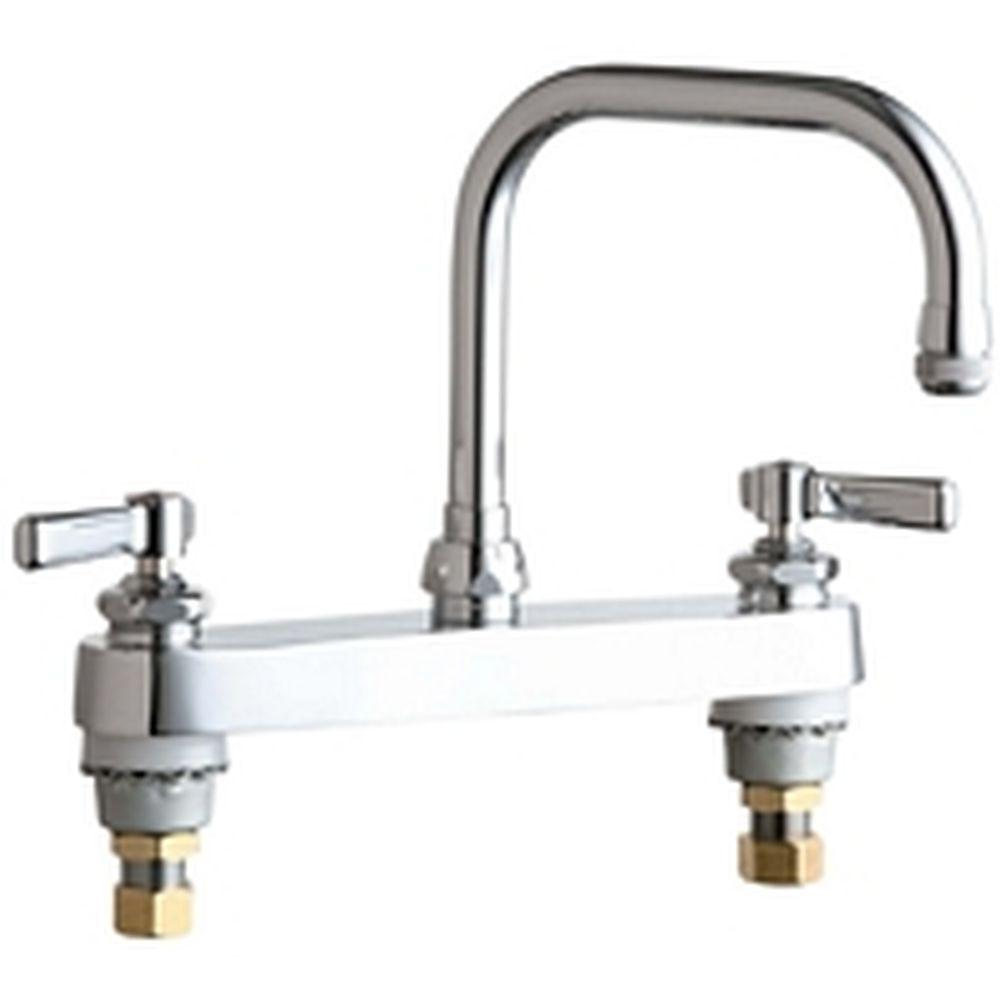 chicago kitchen faucet chicago faucets 2 handle standard kitchen faucet in chrome with 6 1 4 in rigid swing double 127