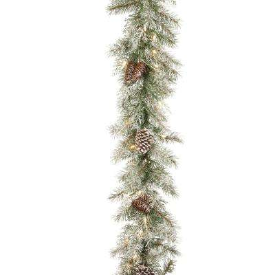 9 ft. x 10 in. Feel Real Frosted Mountain Spruce Garland with Cones and 50 Clear Lights