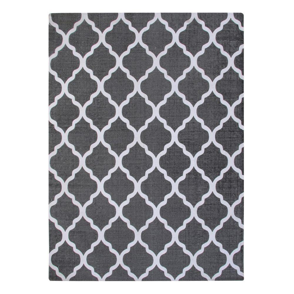 Quatrefoil Grey 5 ft. x 7 ft. Indoor Printed Area Rug