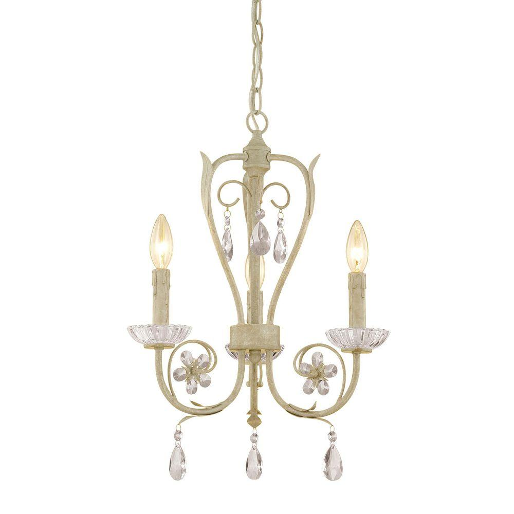 Millennium Lighting 3-Light Antique White Candle Chandelier - Millennium Lighting 3-Light Antique White Candle Chandelier-2123-AW