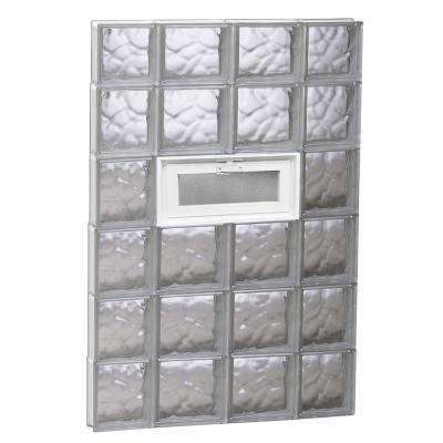 27 in. x 44.5 in. x 3.125 in. Wave Pattern Glass Block Window with Hopper Vent