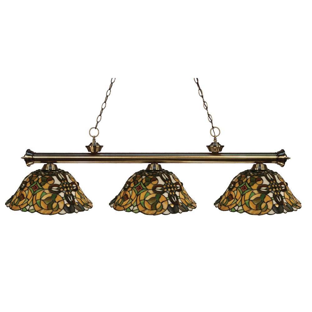Tulen Lawrence 3-Light Antique Brass Incandescent Ceiling Island Light