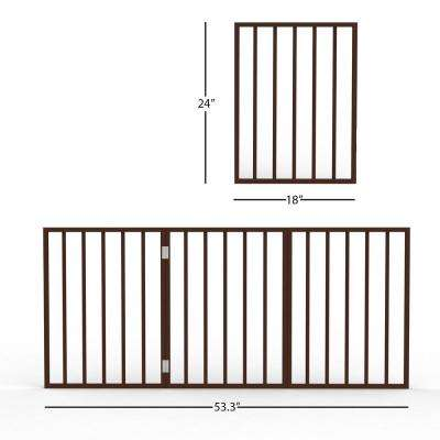 Freestanding Dark Brown Wooden Pet Gate