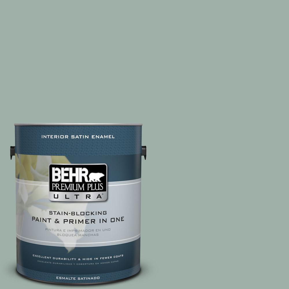 BEHR Premium Plus Ultra Home Decorators Collection 1-gal. #HDC-CT-22 Aged Jade Satin Enamel Interior Paint