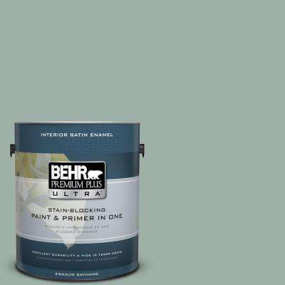 Home Decorators Collection 1 gal. #HDC-CT-22 Aged Jade Satin Enamel Interior Paint and Primer in One