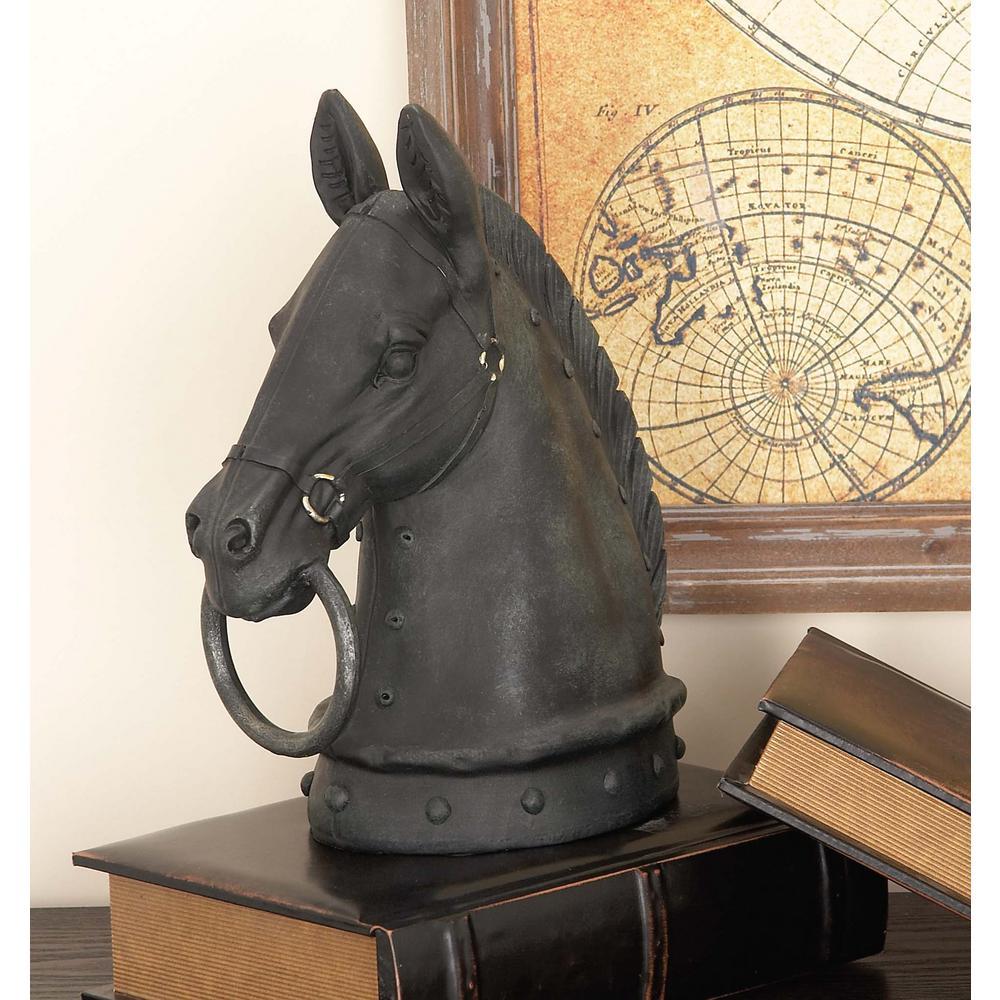 12 in. Horse Head Decorative Figurine in Textured Black