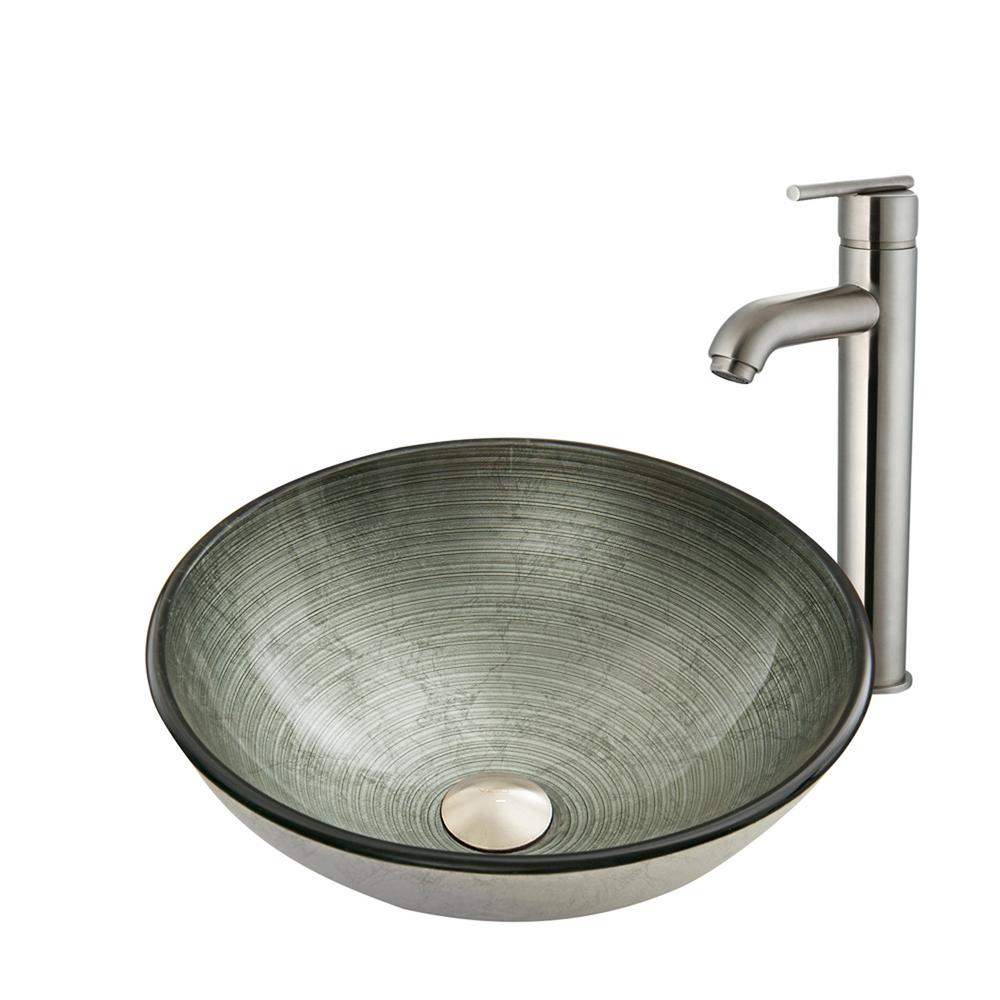VIGO Glass Vessel Sink in Simply Silver and Seville Faucet Set in ...