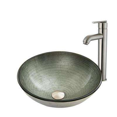 Glass Vessel Sink in Simply Silver and Seville Faucet Set in Brushed Nickel