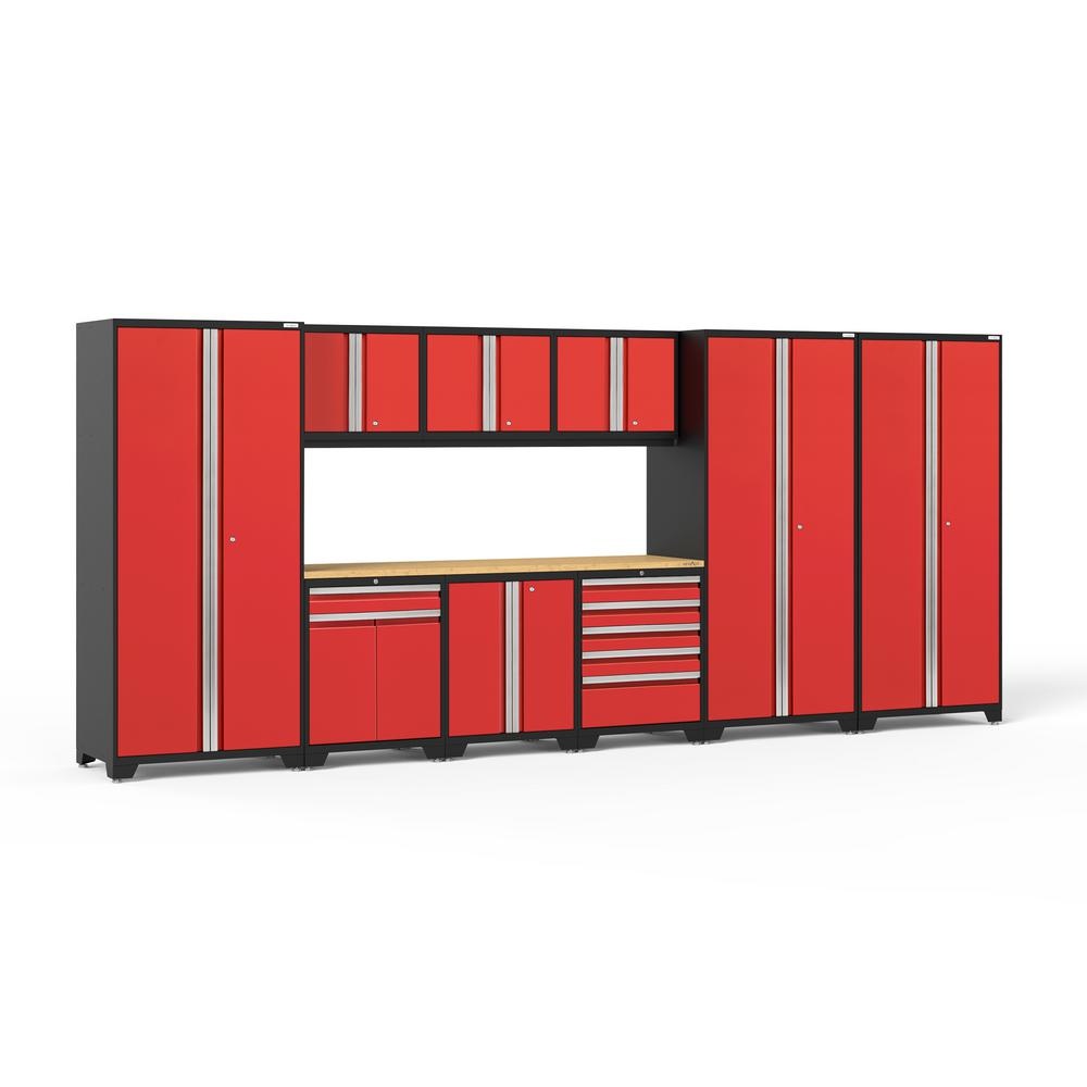 NewAge Products Pro Series 3.0 192 in. W x 85.25 in. H x 24 in. D 18-Gauge Welded Steel Garage Cabinet Set in Red (10-Piece)