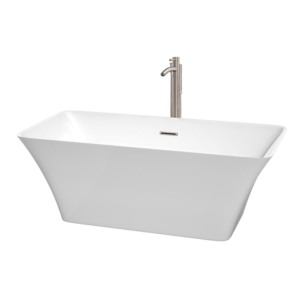 Wyndham Collection Tiffany 4.9 ft. Acrylic Flatbottom Non-Whirlpool Bathtub in White with Brushed Nickel Trim and Faucet