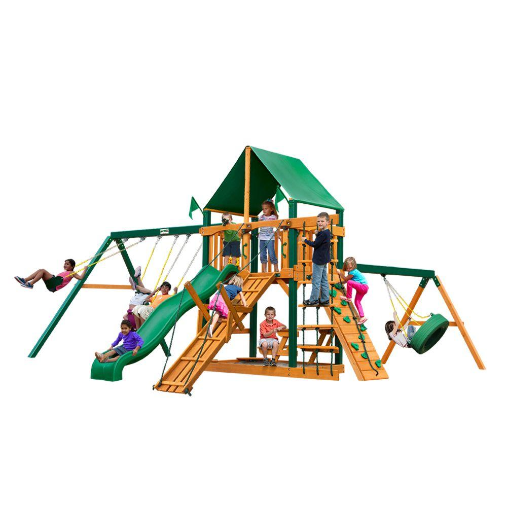 Frontier with Timber Shield and Deluxe Green Vinyl Canopy Cedar Playset