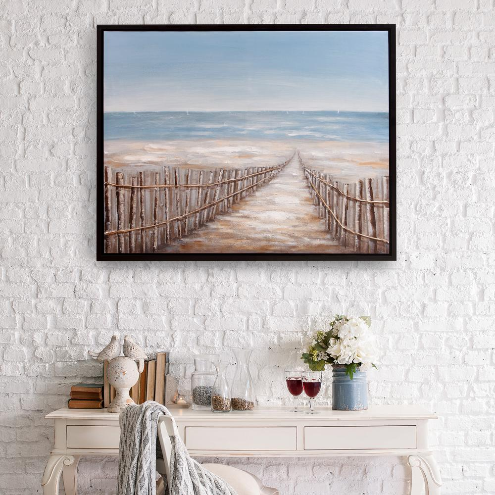 Cloud Window Curtains 3d Printing Nautical Home Decor: Pinnacle Sand Dune Fence Coastal Framed Canvas Wall Art