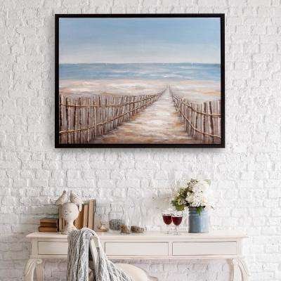 Sand Dune Fence Coastal Framed Canvas Wall Art