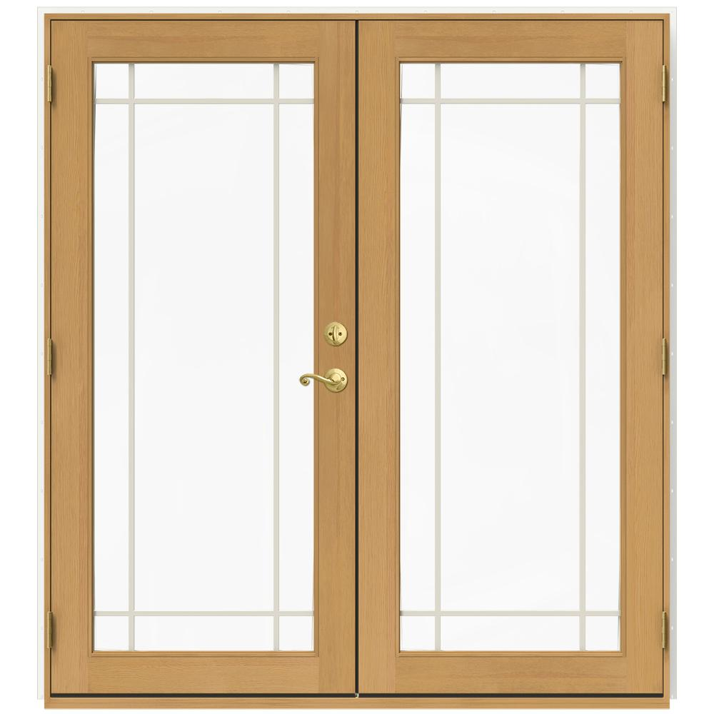 Jeld wen 72 in x 80 in w 2500 white clad wood right hand for White wooden french doors