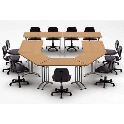 7-Piece Color Natural Beech Conference Tables Meeting Tables Seminar Tables Compact Space Maximum Collaboration