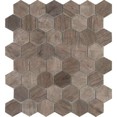 Driftwood Hexagon 11.02 in. x 12.76 in. x 6 mm Glass Mesh-Mounted Mosaic Tile (14.65 sq. ft. / case)