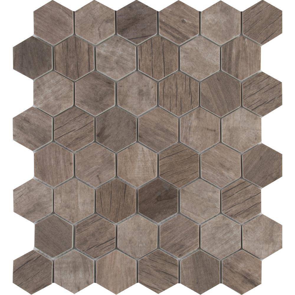 Msi Driftwood Hexagon 12 In X 12 In X 6 Mm Glass Mesh Mounted
