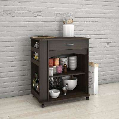 Ebony Kitchen Cart with Drawer