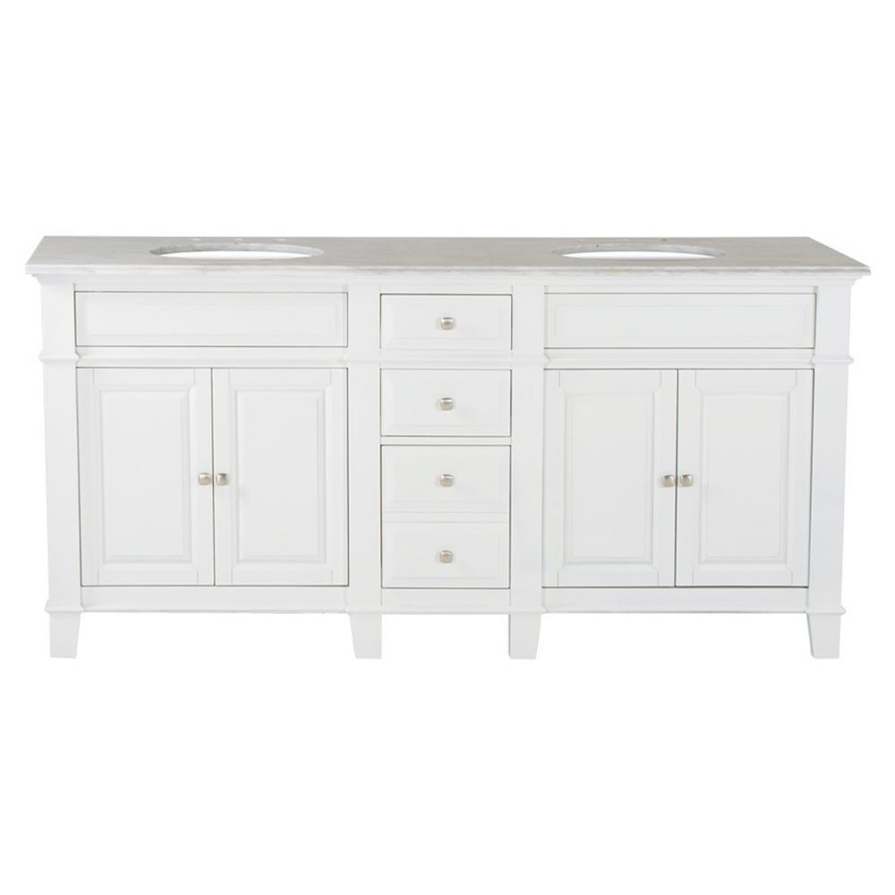 Westport Bay Hardwood Double Vanity Swiss White Marble Top Sierra White