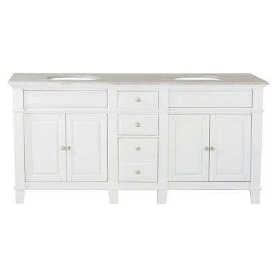 72 in. W x 23 in. D Solid Hardwood Double Vanity in Swiss White with Solid Marble Top in Sierra White