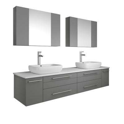 Lucera 72 in. W Wall Hung Vanity in Gray with Quartz Stone Vanity Top in White with White Basins and Medicine Cabinet