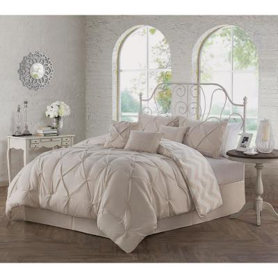 Ella Pinch Pleat Taupe King Reversible Comforter with Bedskirt