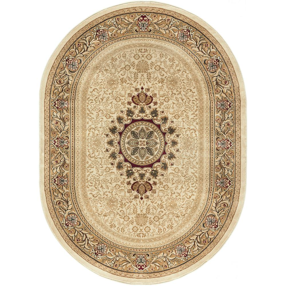 Tayse Rugs Sensation Ivory 7 Ft. X 10 Ft. Traditional Oval