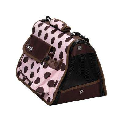 Airline Approved Polka Dot Folding Casual Pet Carrier with Bottle Holder and Pouch - Medium