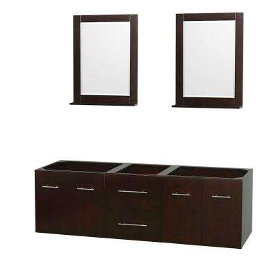 Centra 71 in. Double Vanity Cabinet with Mirror in Espresso