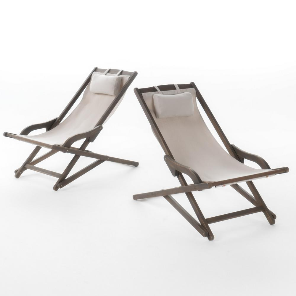 Noble House Nikki Grey 2-Piece Sling Outdoor Chaise Lounge
