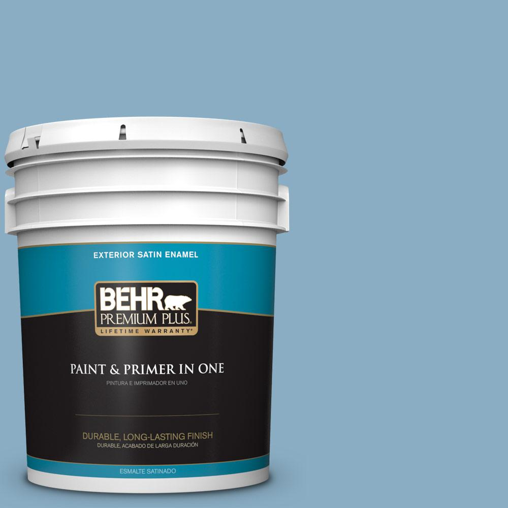 5 gal. #S500-4 Chilly Blue Satin Enamel Exterior Paint