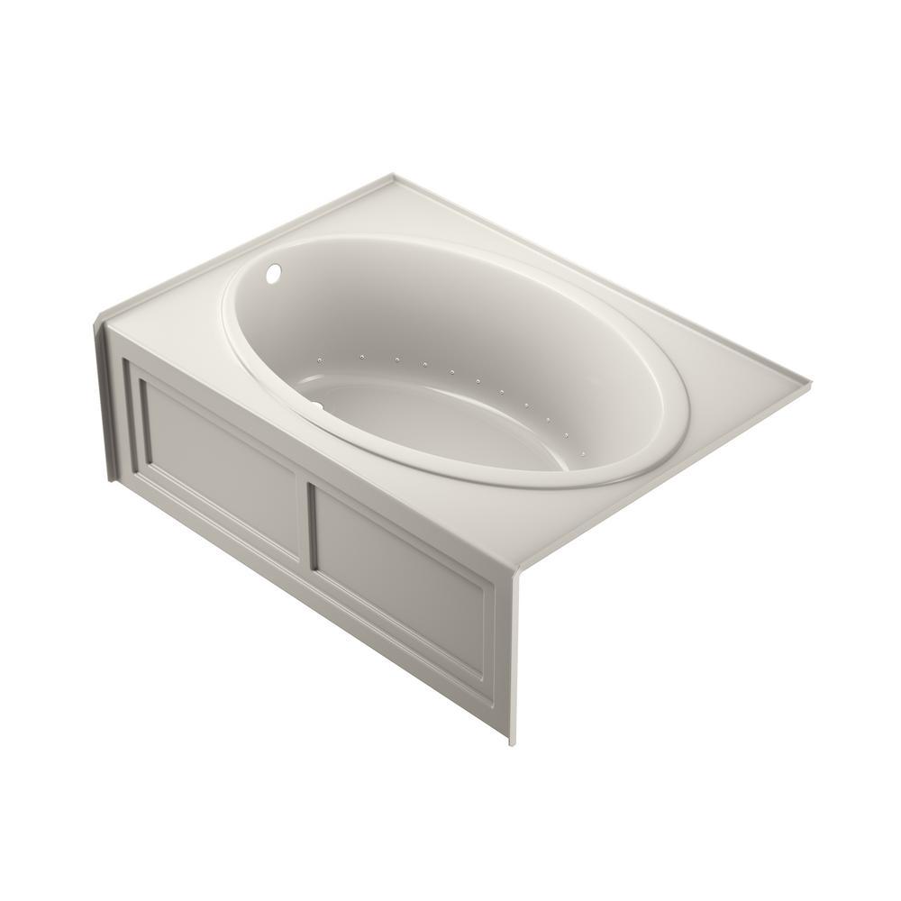 NOVA Pure Air 60 in. x 42 in. Acrylic Left-Hand Drain Rectangular Alcove Air Bath Bathtub in Oyster