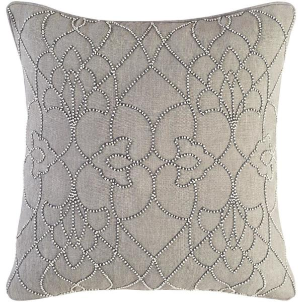 Romilly Grey Graphic Polyester 22 in. x 22 in. Throw Pillow