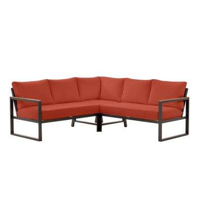 West Park Aluminum Outdoor Patio Sectional Sofa Seating Set with Sunbrella Henna Red Cushions