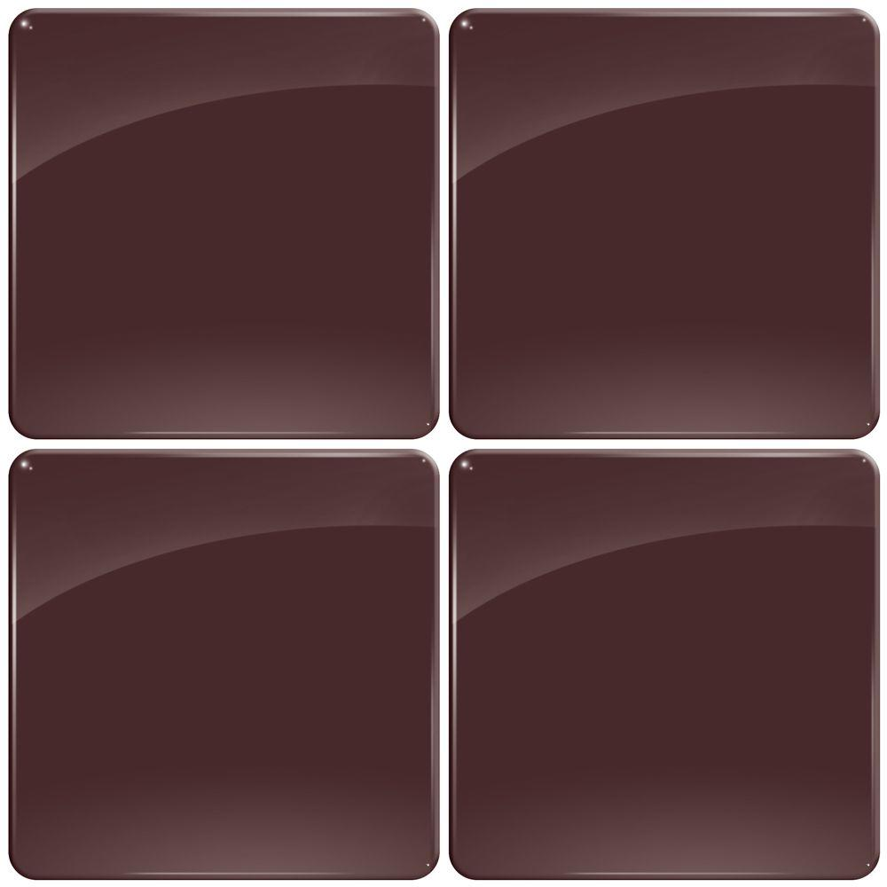 Smart Tiles 3-11/16 in. x 3-11/16 in. Gel Tile Chocolate with Round Corners Decorative Wall Tile (4-Pack)-DISCONTINUED