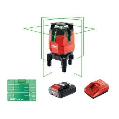 PM 40-MG 130 ft. Multi-Line Green Laser Level Kit with Battery Pack, Charger and Target Plate