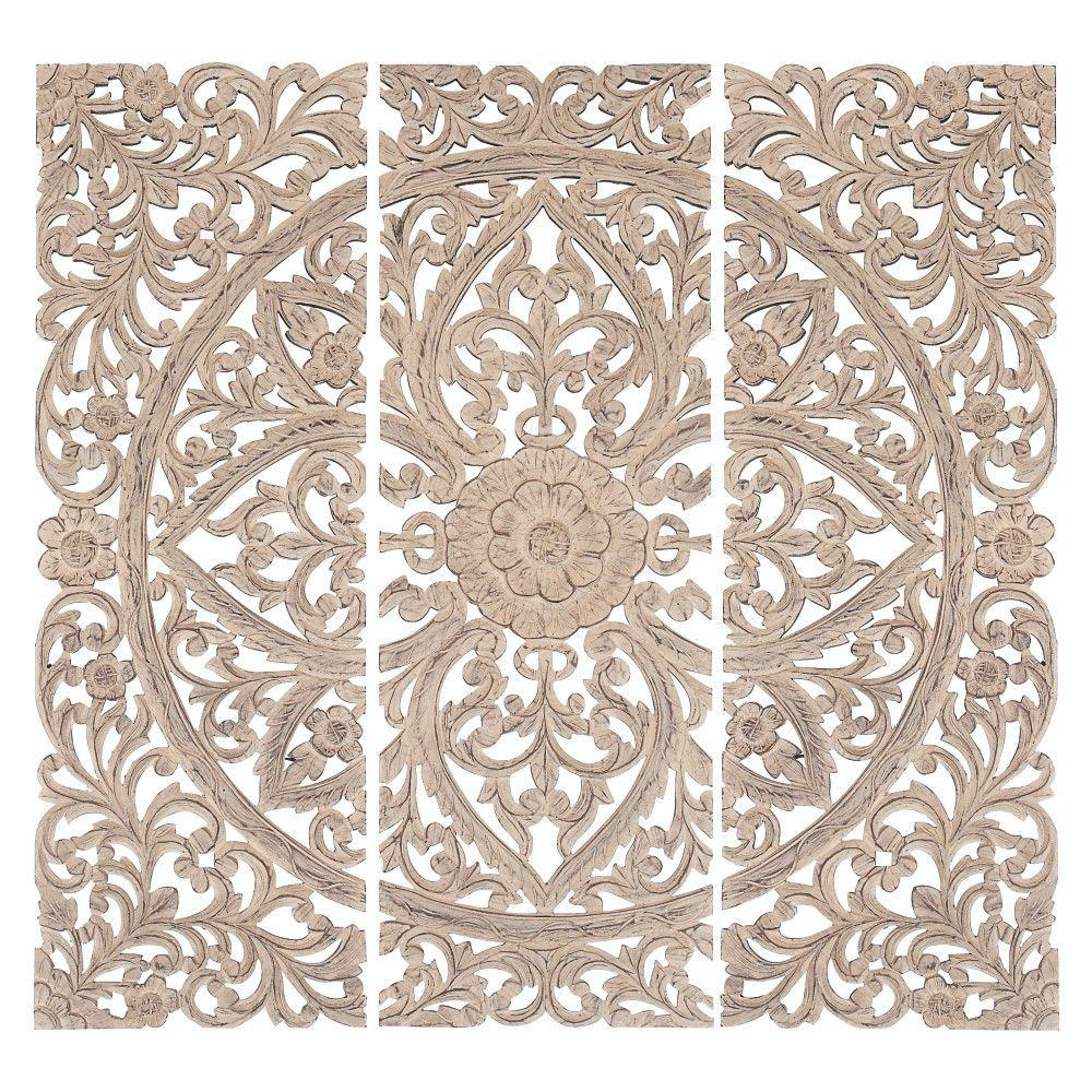 Jaxon 48 in. H x 16 in. W Wood Wall Plaque (Set of 3)-14318 - The ...