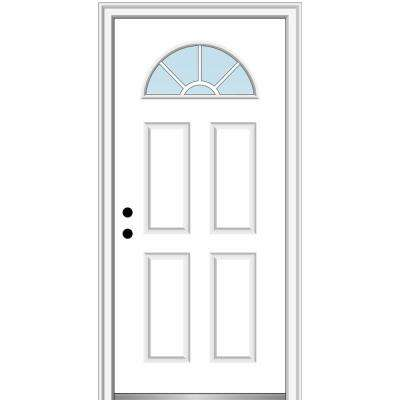 32 in. x 80 in. Classic Right-Hand Inswing Fan-Lite Clear 4-Panel Primed Steel Prehung Front Door on 4-9/16 in. Frame